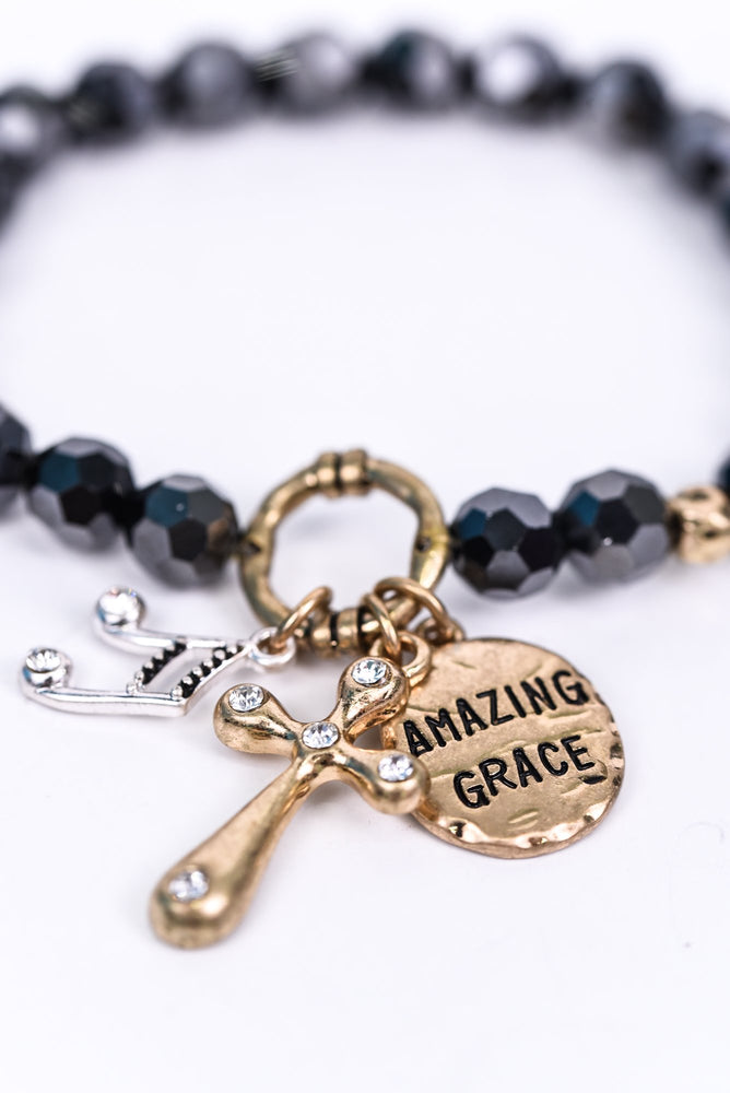 'Amazing Grace' Dark Gray/Gold Beaded Stretch Charm Bracelet - BRC2653DGR