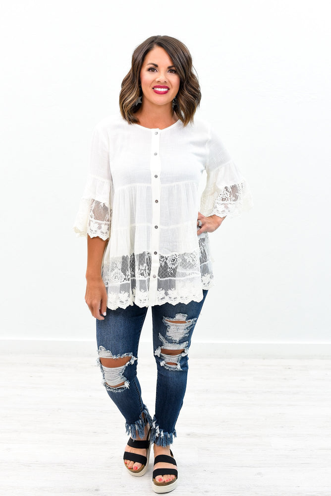 Once In A Lifetime Type Of Love Off White Lace Top - B8527OW