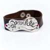 Silver/Black Hammered 'Sparkle' On Brown Snap Closure Bracelet - BRC2665SI