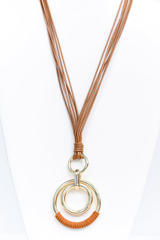 Gold Hoop/Brown Suede Wrapped Pendant On Multi Brown Cord Necklace - NEK3369GO