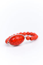 Red Marble Oval Pendant/Beaded Stretch Bracelet - BRC2672RD