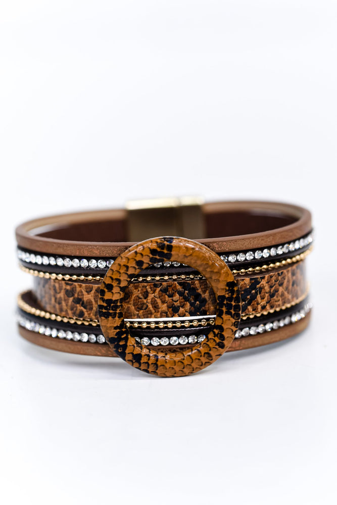Brown Snakeskin/Bling Magnetic Closure Bracelet - BRC2675BR