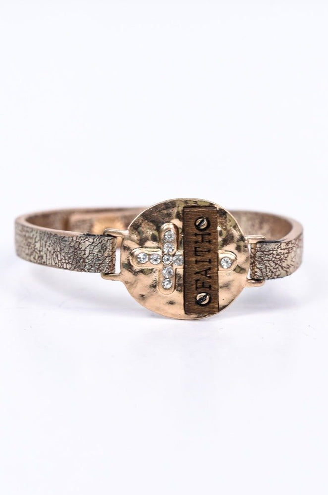 'Faith' Gold Hammered/Wood/Bling Cross Snap Closure Bracelet - BRC2659GO