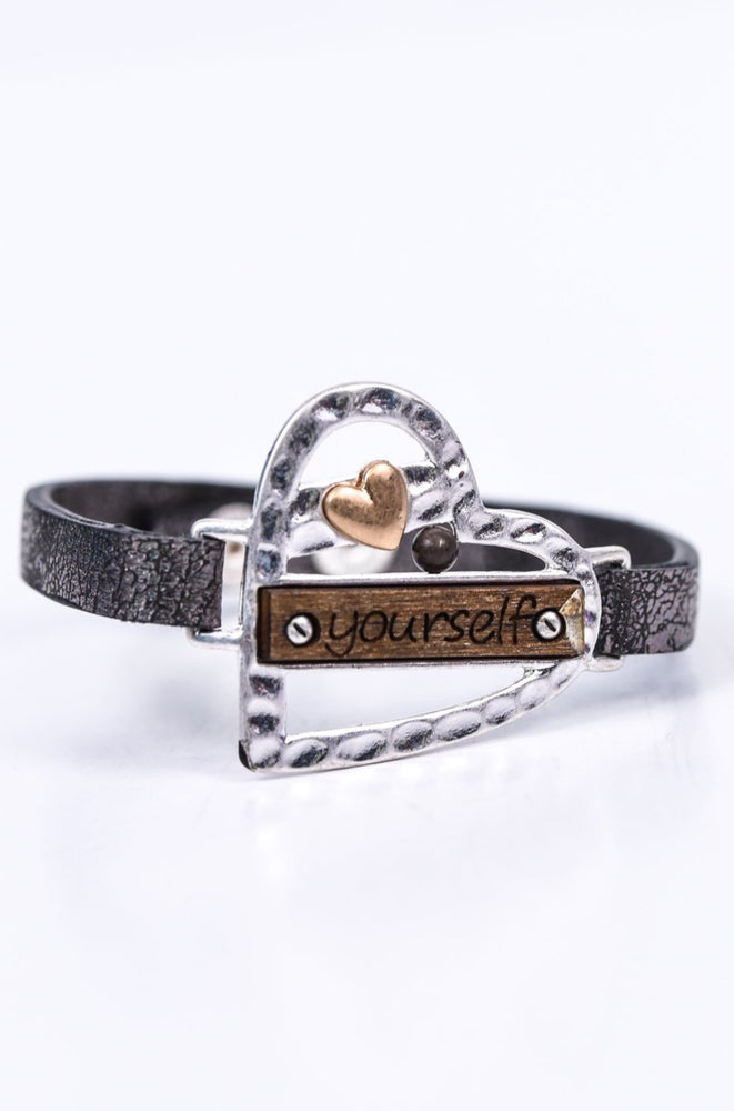 'Love Yourself' Silver Hammered/Wood Leather Snap Closure Bracelet - BRC2655SI