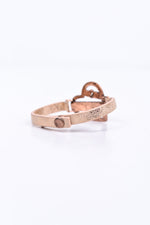 'Love Yourself' Rose Gold Hammered/Wood Leather Snap Closure Bracelet - BRC2656RG