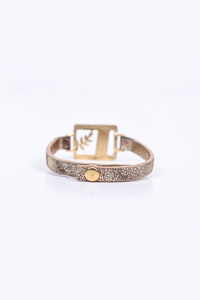 'Blessed' Gold Hammered/Wood Snap Closure Bracelet - BRC2660GO