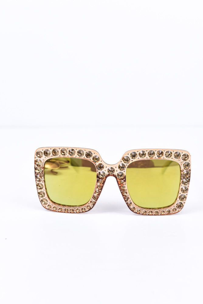 Champagne/Bling/Yellow Mirrored Lens Sunglasses - SGL228CH - FREE hard case