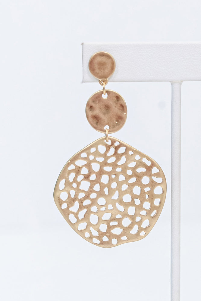 Gold 3-Tier Hammered/Textured Circle Earrings - EAR2903GO
