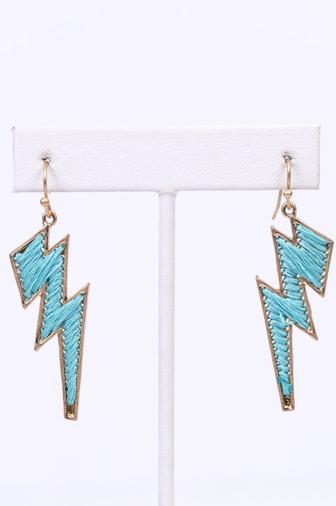 Light Blue/Gold Threaded Lightning Bolt Earrings - EAR2906LBL