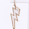 White/Gold Threaded Lightning Bolt Earrings - EAR2908WH