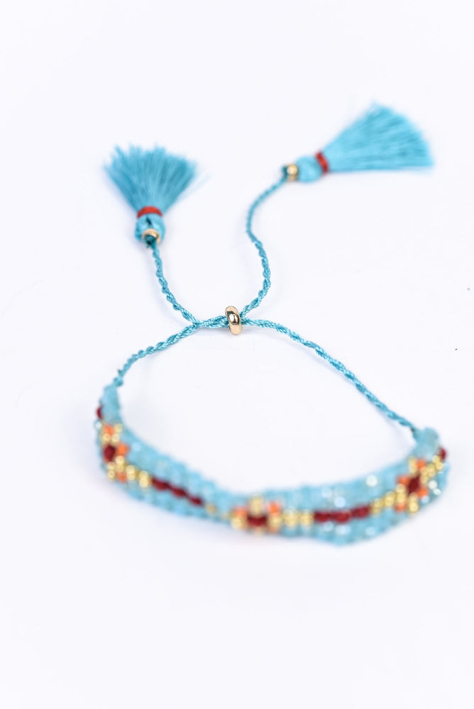 Turquoise/Multi Color Beaded Pull Closure Tassel Bracelet - BRC2680TU
