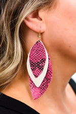 Pink Snakeskin/Ivory Feathered Layered Earrings - EAR2900PK