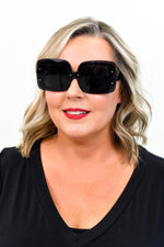 Black Tortoise Shell/Black Lens Sunglasses - SGL233BK - FREE hard case