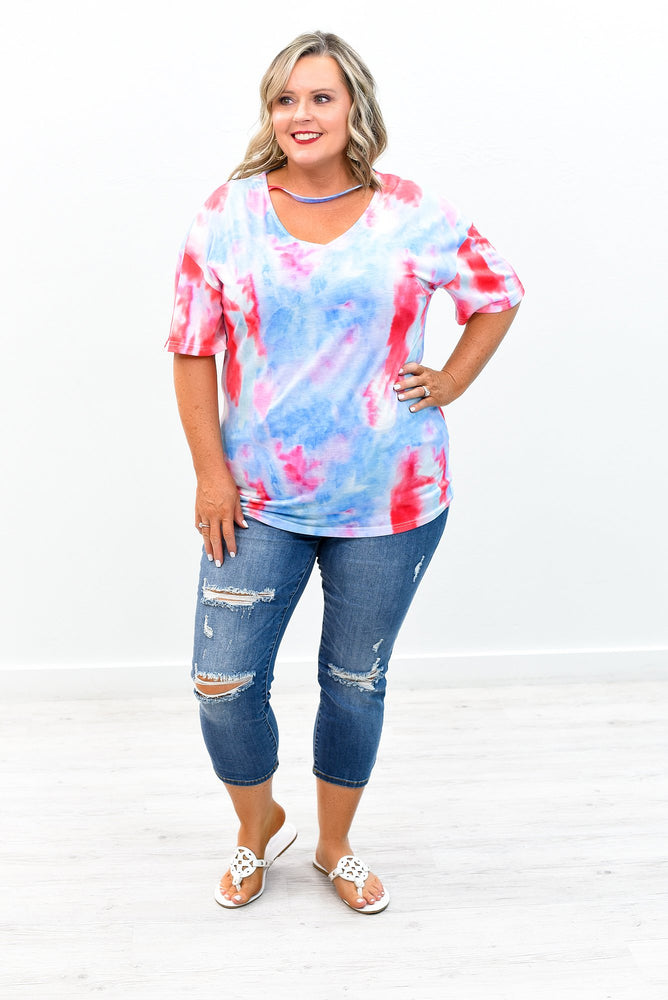 Busy Day Dreaming Red/Light Blue Watercolor Choker Neck Top - B8565RD