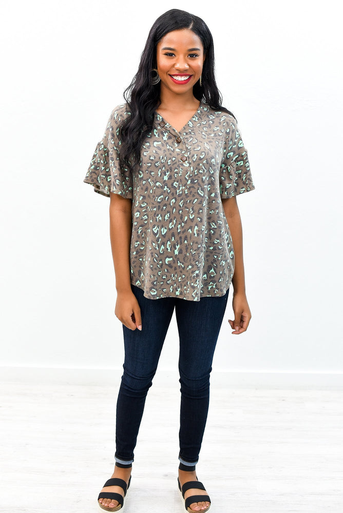 Spot Perfection Brown/Mint Leopard V Neck Top - B8564BR