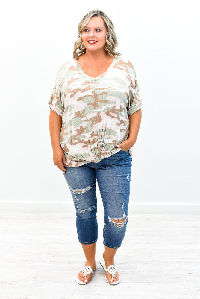 Getting Noticed Sage Camouflage Front Twist Top - B8563SG