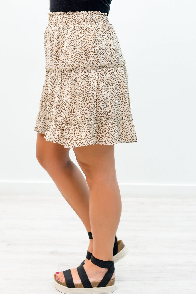 Ready For Summer Afternoons Natural/Brown Leopard Skirt - E1053NA