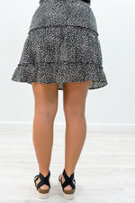 Ready For Summer Afternoons Black/Ivory Leopard Skirt - E1051BK