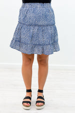 Ready For Summer Afternoons Light Navy/Ivory Leopard Skirt - E1052LNV