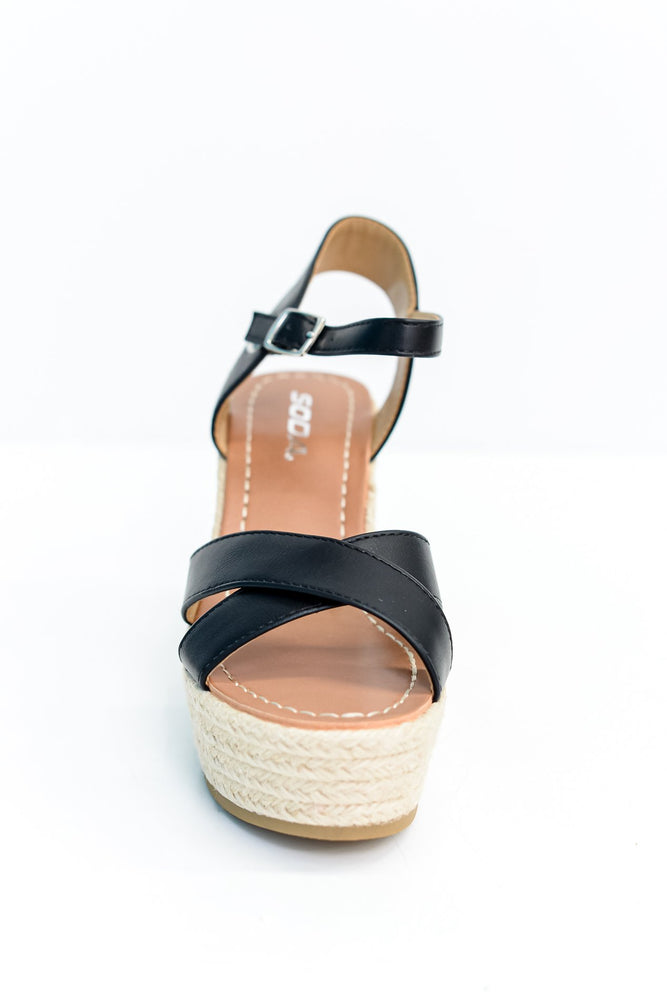 Stepping It Up Black Espadrille Wedges - SHO1808BK