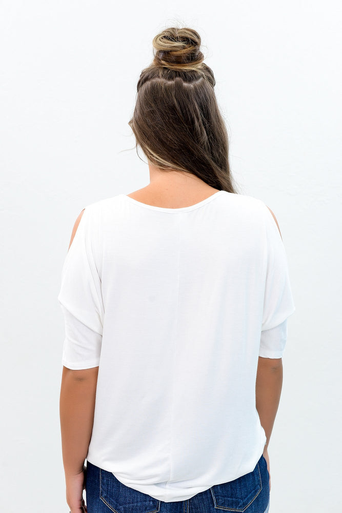 She's Not So Basic Ivory Solid Open Shoulder Top - B8608IV
