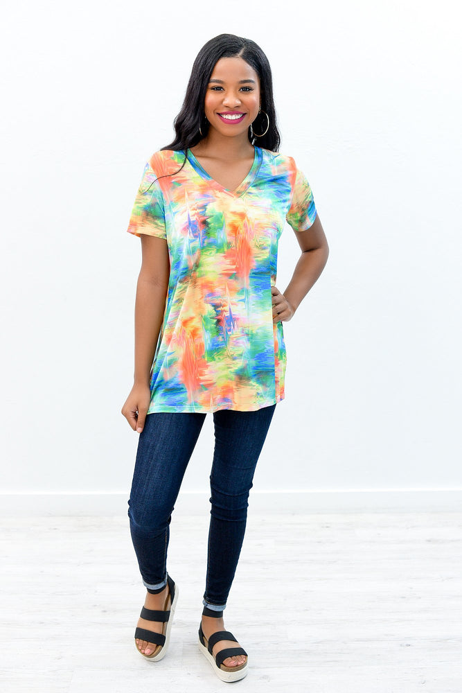 Cosmic Love Green/Multi Color Printed V Neck Top - B8632GN