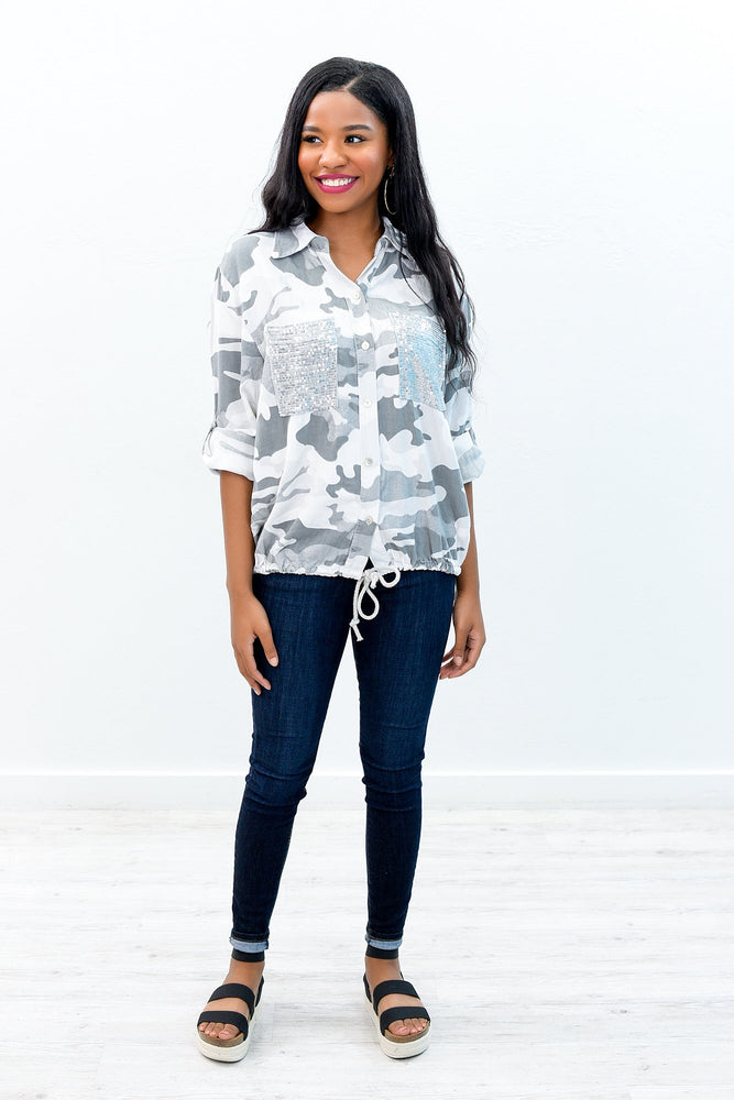 Searching For Fun Charcoal Gray Camouflage/Sequins Top - B8666CG