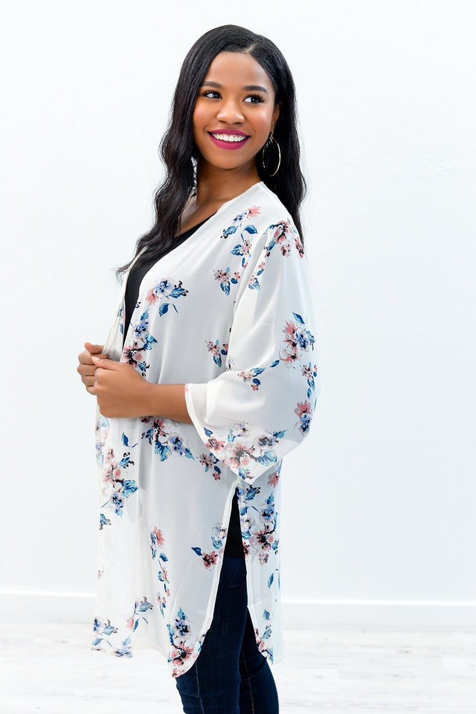 A Bright And Sunshiny Day Ivory/Multi Color Floral Sheer Kimono - O2525IV
