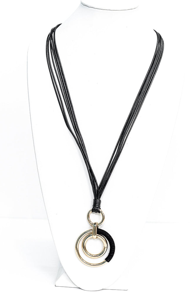 Gold Hoop/Black Suede Pendant Layered Cord Necklace - NEK3391GO