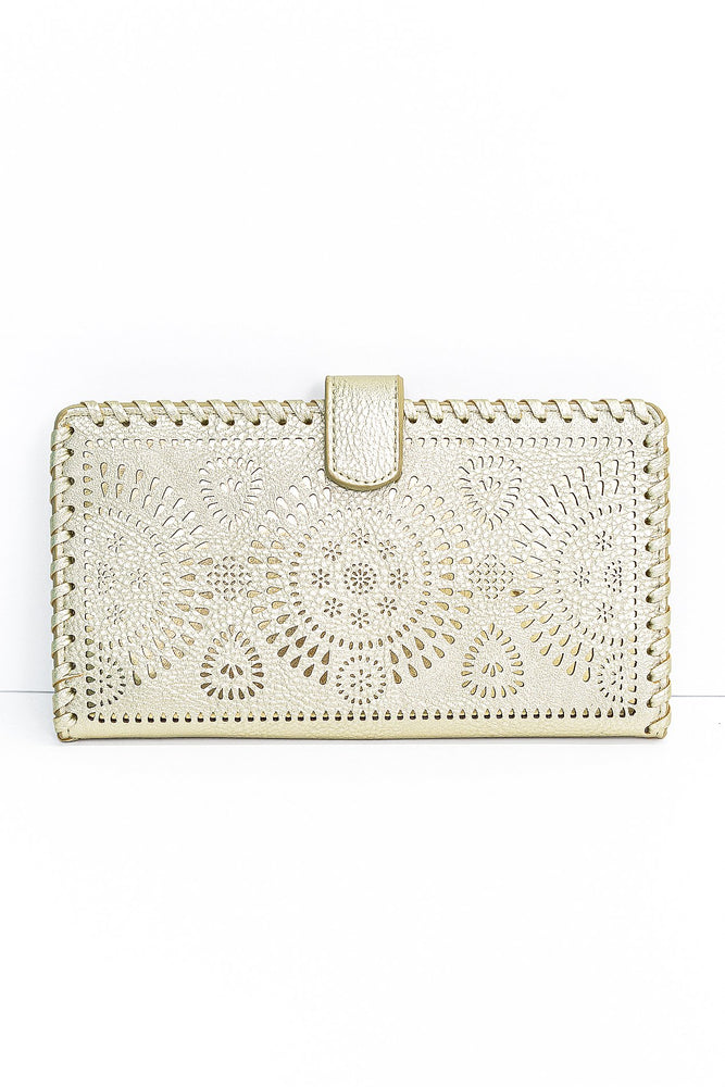A Rare Gem Gold Lazer Cut Clutch - BAG1390GO