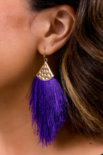 Purple/Gold Hammered Fringe Tassel Earrings - EAR2916PU