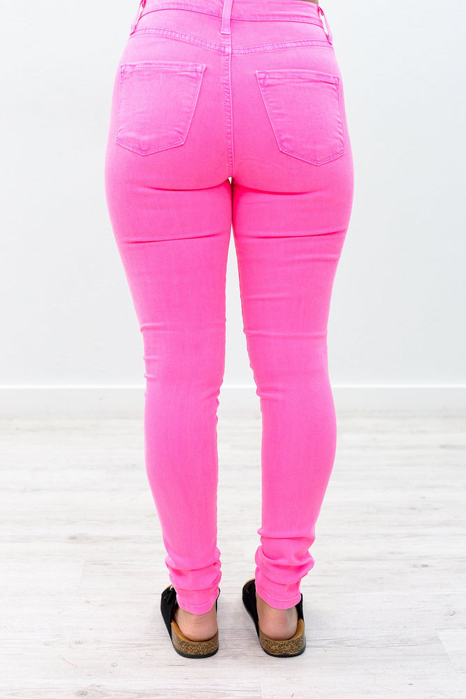 Totally Clueless Neon Pink Distressed Jeans - K460NPK