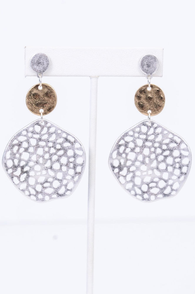 Silver/Gold 3-Tier Hammered/Textured Circle Earrings - EAR2904SI