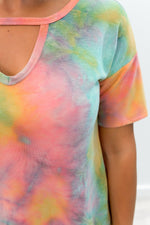 Don't Worry Be Hippie Orange Tie Dye Keyhole Front Top - B8661OR