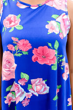 Sunday Morning Stroll Royal Blue/Pink Floral Top - B8672RB
