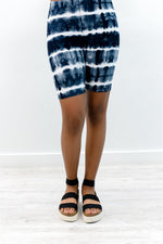 Black/White Tie Dye Biker Shorts - I1200BK