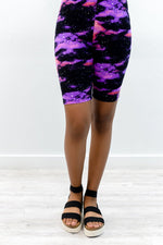 Purple/Multi Color Galaxy Biker Shorts - I1199PU