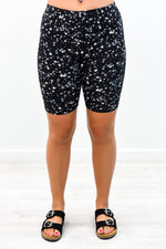 Black/Gray Star Printed Biker Shorts - I1197BK