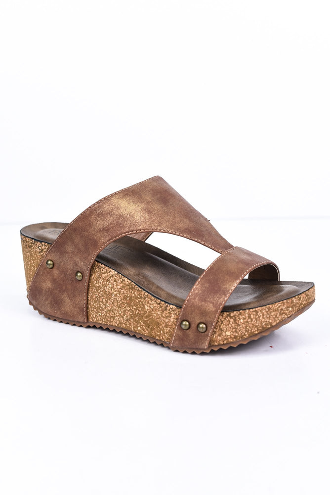 Take A Step In The Right Direction Brown Studded Wedges - SHO1811BR