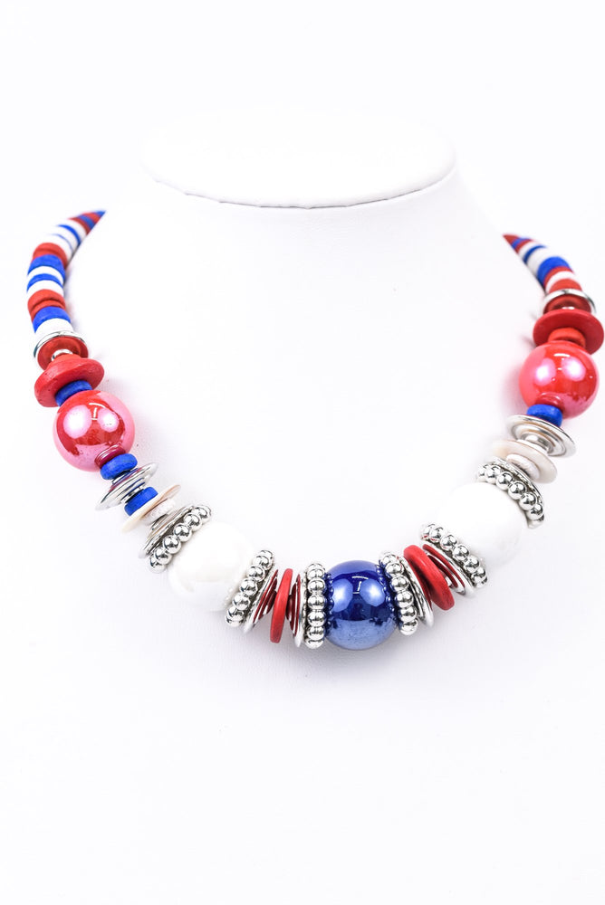 Red/White/Blue Large Beaded/Wooden Disk Necklace - NEK3397RD