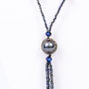 Black/Iridescent Beaded/Bling Dark Gray Pearl Tassel Necklace - NEK3401BK