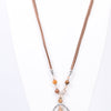 Silver Hammered Teardrop/Pearl Pendant Beaded/Leather Cord Necklace - NEK3399SI