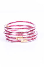 Fuchsia Glitter Tube Bangle Bracelet - BRC2696FU