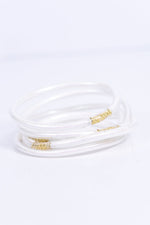 White Glitter Tube Bangle Bracelet - BRC2702WH