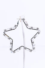 Silver/Clear Glass Beaded/Bling Star Earrings - EAR2946SI