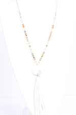 White Tassel/Ivory Marble Pendant/Beaded Necklace - NEK3417WH
