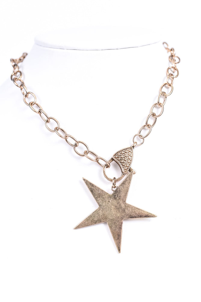 Burnt Gold Star/Lobster Clasp Chain Necklace - NEK3413GO
