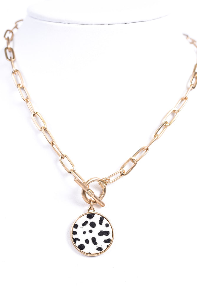 Black/White Cheetah/Gold Round Pendant Chain Necklace - NEK3418BW