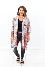 Blossoming Babe Coral Multi Pattern Sheer Kimono - O2536CO