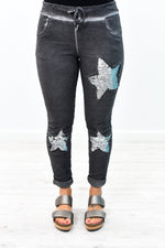 Star Of The Show Vintage Black Star/Sequins Pants - PNT1135VBK